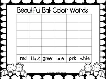 Beautiful Bat Color Words:  LOW PREP Bat Themed Roll and Write Activity