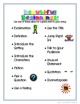 Beautiful Beginnings- Handout and/or Poster