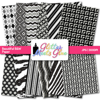 Beautiful Black and White Paper {Scrapbook Backgrounds for Task Cards}
