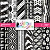 Beautiful Black and White Scrapbook Paper Backgrounds {Glitter Meets Glue}