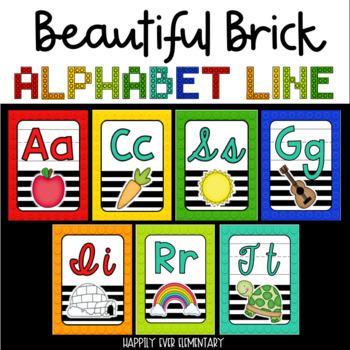 Beautiful Brick Rainbow Alphabet Line (Print and Cursive)