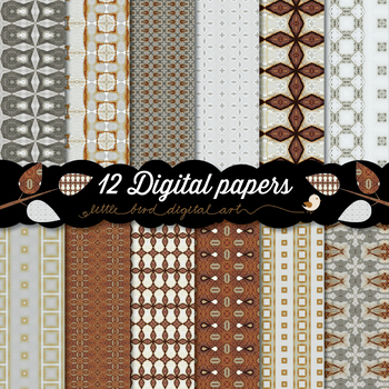 Beautiful Brown and Gray - 12 Digital Papers