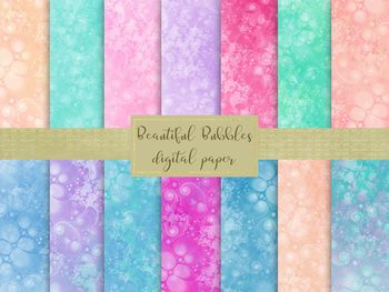 Beautiful Bubbles Digital Papers, High Resolution Jpeg Files.