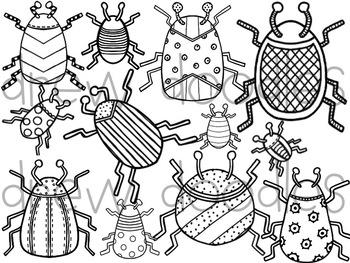 Beautiful Bugs Digital Clip Art Set- Black Line Version