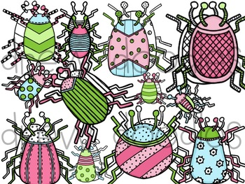 Beautiful Bugs Digital Clip Art Set- Color and Black Line COMBO