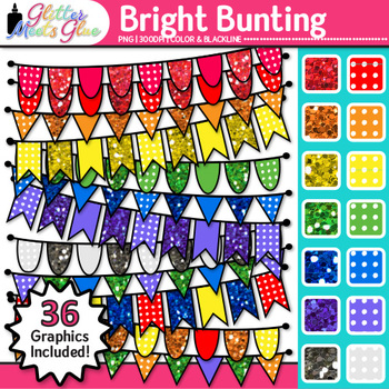 Bright Bunting Clip Art {Glitter Rainbow Banners for Worksheets & Posters}