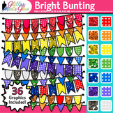 Bright Bunting Clip Art {Glitter Rainbow Banners for Works