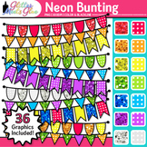Neon Bunting Clip Art {Glitter Rainbow Banners for Worksheets & Wall Posters} 1