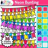 Neon Bunting Clipart: Rainbow Glitter Flags & Banners 1 {Glitter Meets Glue}
