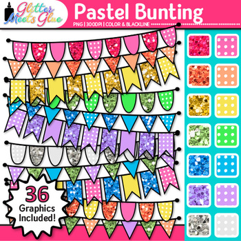 Pastel Bunting Clip Art | Glitter Rainbow Banners for Worksheets & Posters