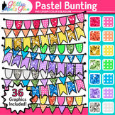 Pastel Bunting Clip Art {Glitter Rainbow Banners for Works