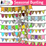 Seasonal Bunting Clip Art {Glitter Flags & Banners for Worksheets & Posters}