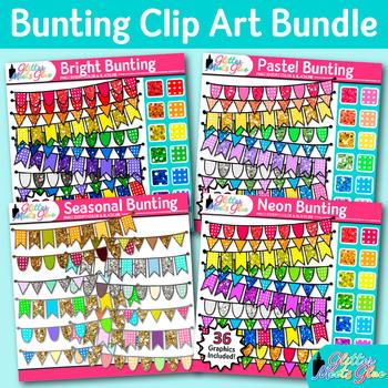 Beautiful Bunting Clip Art Bundle {Autumn, Spring, Summer, & Winter Pennants}