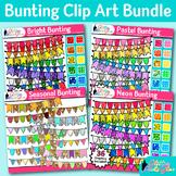 Beautiful Bunting Clip Art Bundle   Autumn, Spring, Summer, & Winter Pennants