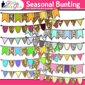 Beautiful Bunting Clip Art Bundle | Autumn, Spring, Summer, & Winter Pennants