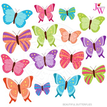 Beautiful Butterflies Cute Digital Clipart, Butterfly Graphics