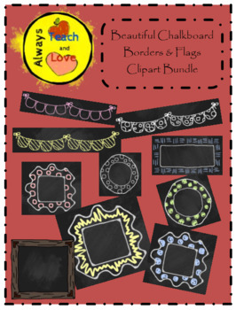 Beautiful Chalkboard Borders and Banners Clipart Bundle