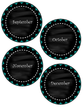 Beautiful Chalkboard Months of the Year Flashcards