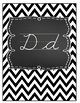 Beautiful Chevron Black and White Cursive Alphabet Decor