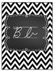 Beautiful Chevron Black and White Cursive Alphabet Decor
