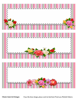 Beautiful Floral Labels - 8x3 Labels