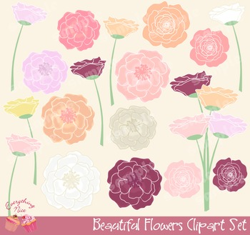 Beautiful Flowers Clipart Set