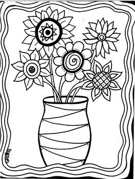 Beautiful Flowers Coloring Sheet