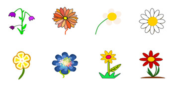 Beautiful Flowers, Tulips, Daisies, Sunflowers - SVG Clip Art Vectors