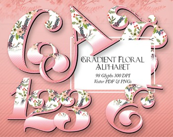 "Beautiful Gradient Alphabet Clip Art  /  95 pcs - 3.5"" High, Vector PDF and PNGs"