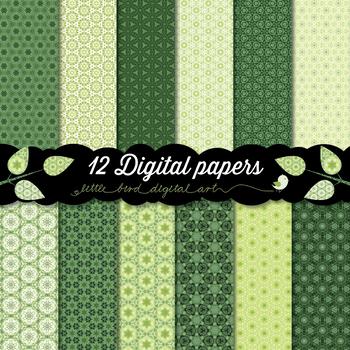 Beautiful Green - 12 Digital Papers