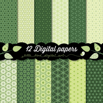 Beautiful Green - 12 Digital Papers