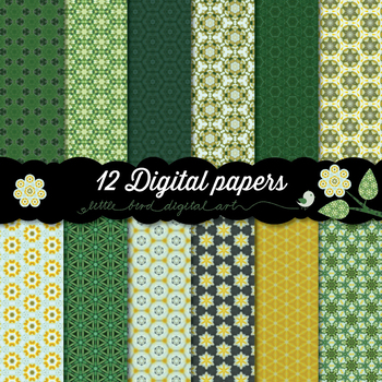 Beautiful Green and Yellow - 12 Digital Papers