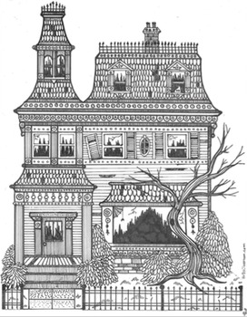 Beautiful Haunted Victorian Mansion Coloring Sheet for Halloween