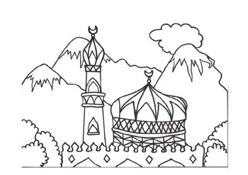 Beautiful Masjid colouring pages-FREE