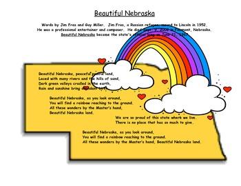 Beautiful Nebraska Coloring Page / Word Sheet