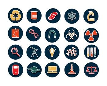 Beautiful Science Icon Graphics--Clip Art