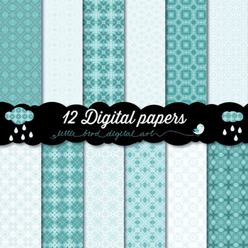 Beautiful Turquoise - 12 Digital Papers