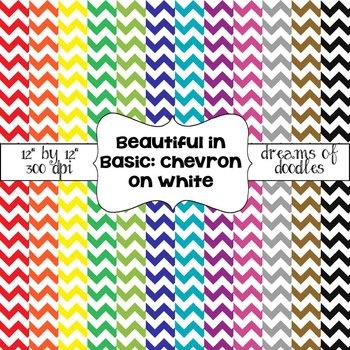 Beautiful in Basic: Chevron on White Digital Paper Pack