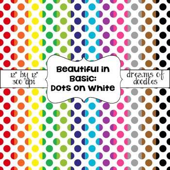 Beautiful in Basic: Polka Dots on White Digital Paper Pack