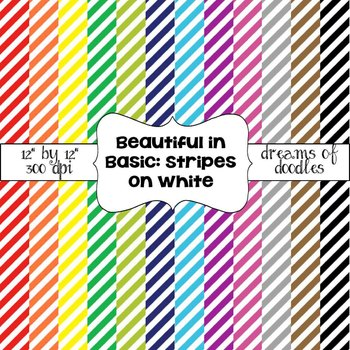 Beautiful in Basic: Stripes on White Digital Paper Pack ~ Dreams of Doodles