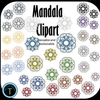 Beautiful multi-colored mandala boho Clipart 36 pieces