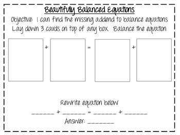 Beautifully Balanced Equations (Common Core Aligned)