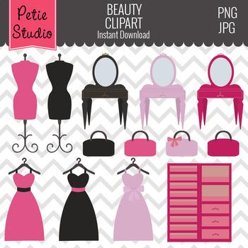 Beauty Girls Clipart // Bedroom Furniture Clipart // Vanity Clipart - Kids 103