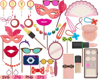 Beauty Make Up Props Party Sweet Sixteen clip art svg wedding stamp labels -179s