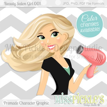 Beauty Salon Girl 001- Commercial Use Character Graphic
