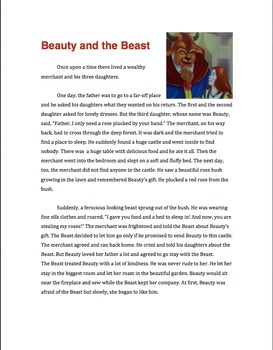 Beauty and The Beast Paired Passages Resources (Play, Short Story, Poem, Flyer)