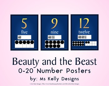 Beauty and the Beast 0-20 Number Posters