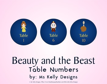 Beauty and the Beast 1-10 Table Numbers