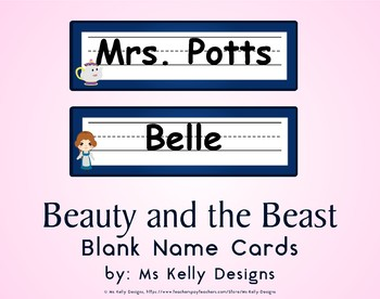 Beauty and the Beast Blank Name Cards