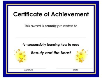Certificate of Achievement Award for Learning to Read BEAUTY AND THE BEAST